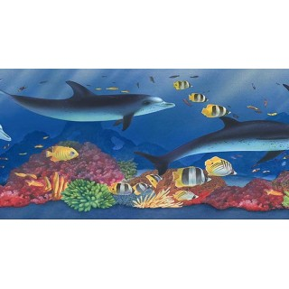 6 7/8 in x 15 ft Prepasted Wallpaper Borders - Acquarium Wall Paper Border PB58022B