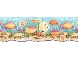 9 in x 15 ft Prepasted Wallpaper Borders - Acquarium Wall Paper Border PB58034DB