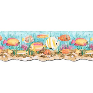 9 in x 15 ft Prepasted Wallpaper Borders - Acquarium Wall Paper Border PB58034DB
