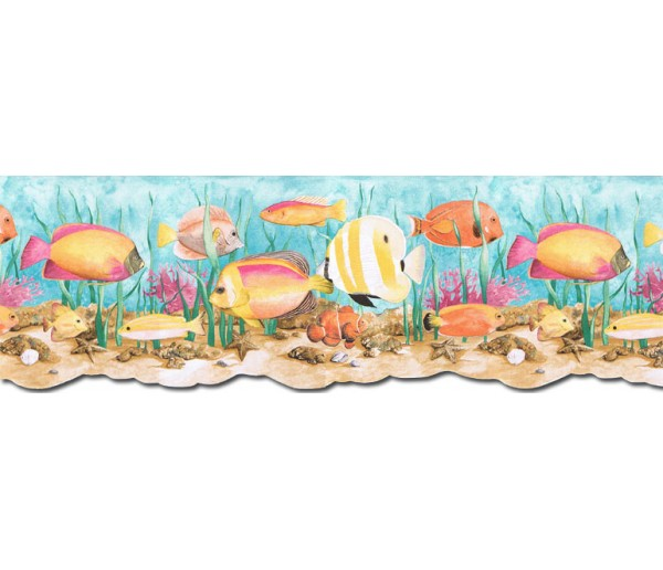 Sea World Borders Acquarium Wallpaper Border PB58034DB Chesapeake Wallcoverings