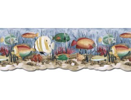 9 in x 15 ft Prepasted Wallpaper Borders - Acquarium Wall Paper Border PB58035DB