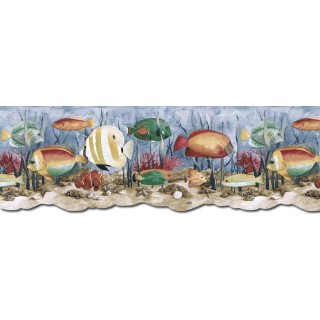 9 in x 15 ft Prepasted Wallpaper Borders - Acquarium Wall Paper Border PB58035DB