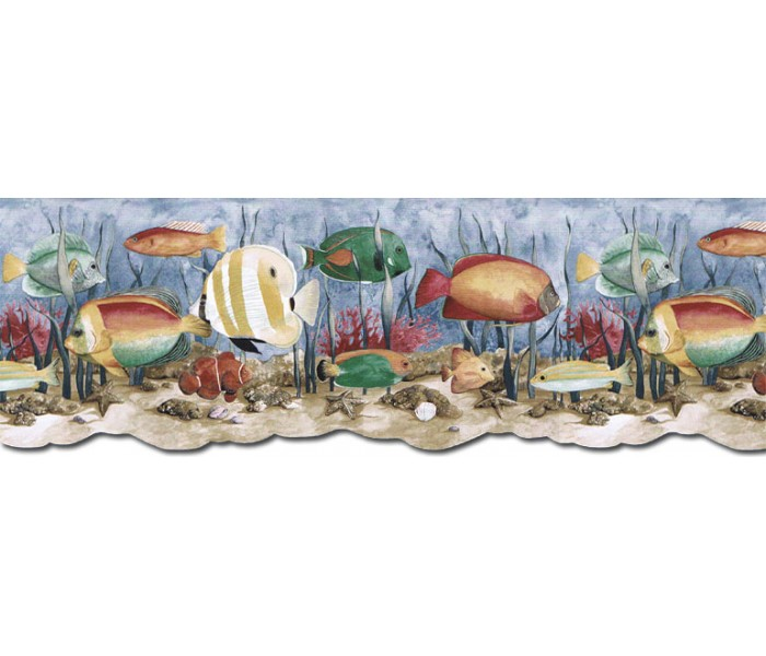 Sea World Wall Borders: Acquarium Wallpaper Border PB58035DB