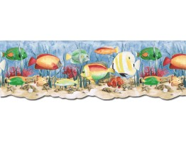 9 in x 15 ft Prepasted Wallpaper Borders - Acquarium Wall Paper Border PB58036DB