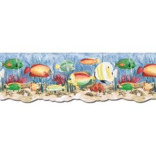 9 in x 15 ft Prepasted Wallpaper Borders - Acquarium Wall Paper Border PB58036DB