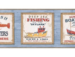 Prepasted Wallpaper Borders - Fishing on the Skylark Wall Paper Border PB58045B