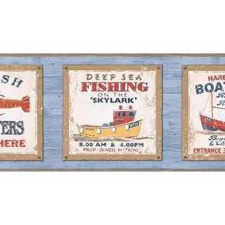 6 7/8 in x 15 ft Prepasted Wallpaper Borders - Fishing on the Skylark Wall Paper Border PB58045B