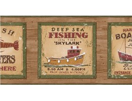 Prepasted Wallpaper Borders - Fishing on the Skylark Wall Paper Border PB58046B
