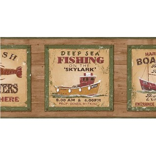 6 7/8 in x 15 ft Prepasted Wallpaper Borders - Fishing on the Skylark Wall Paper Border PB58046B