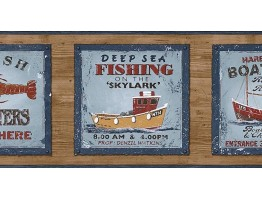 Prepasted Wallpaper Borders - Fishing on the Skylark Wall Paper Border PB58047B