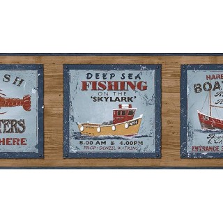 6 7/8 in x 15 ft Prepasted Wallpaper Borders - Fishing on the Skylark Wall Paper Border PB58047B