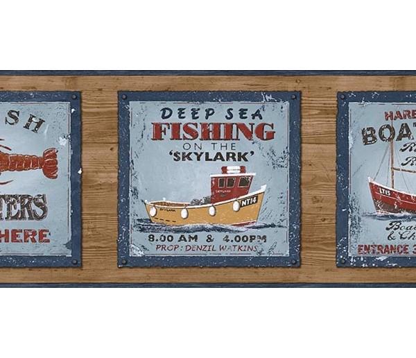 Clearance: Fishing on the Skylark Wallpaper Border PB58047B
