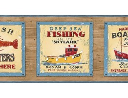 Prepasted Wallpaper Borders - Fishing on the Skylark Wall Paper Border PB58048B