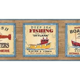 6 7/8 in x 15 ft Prepasted Wallpaper Borders - Fishing on the Skylark Wall Paper Border PB58048B