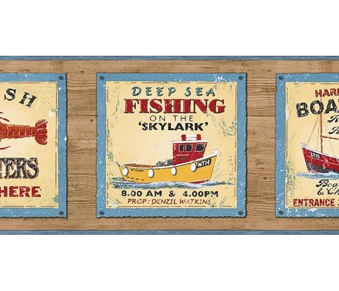 Fishing Wallpaper Borders: Fishing on the Skylark Wallpaper Border PB58048B