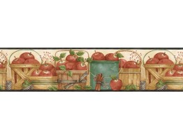 6 7/8 in x 15 ft Prepasted Wallpaper Borders - Fruits Wall Paper Border ACS59005B