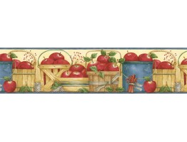 6 7/8 in x 15 ft Prepasted Wallpaper Borders - Apple Fruits Wall Paper Border ACS59008B