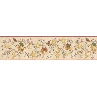 6 7/8 in x 15 ft Prepasted Wallpaper Borders - Birds House Wall Paper Border ACS59010B