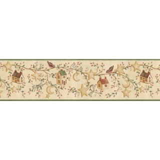6 7/8 in x 15 ft Prepasted Wallpaper Borders - Birds House Wall Paper Border ACS59011B