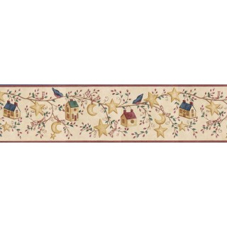 6 7/8 in x 15 ft Prepasted Wallpaper Borders - Birds House Wall Paper Border ACS59012B