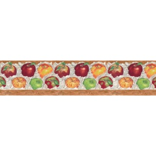 7 in x 15 ft Prepasted Wallpaper Borders - Apple Fruits Wall Paper Border B597426