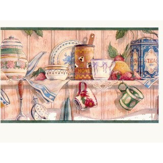 10 1/4 in x 15 ft Prepasted Wallpaper Borders - Kitchen Wall Paper Border CL6043B