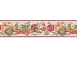 6 3/4 in x 15 ft Prepasted Wallpaper Borders - Vegetables Wall Paper Border b6043STN