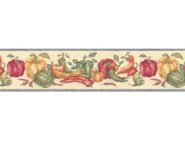 6 3/4 in x 15 ft Prepasted Wallpaper Borders - Vegetables Wall Paper Border bb6044STN