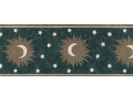 Prepasted Wallpaper Borders - Sun, Moon and Stars Wall Paper Border b61254