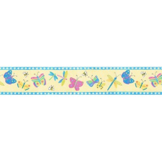 5 1/4 in x 15 ft Prepasted Wallpaper Borders - Butterfly Wall Paper Border b6232ci