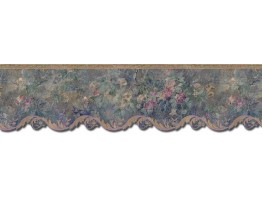 Prepasted Wallpaper Borders - Floral Wall Paper Border 62744DC