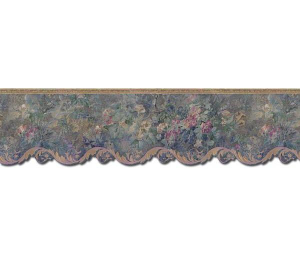 Prepasted Wallpaper Borders - Floral Wall Paper Border 62744DC