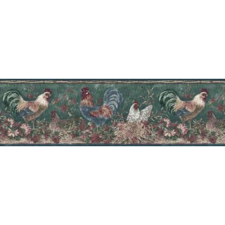9 1/8 in x 15 ft Prepasted Wallpaper Borders - Roosters Wall Paper Border B66166320