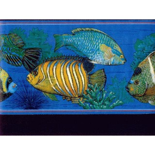 6 7/8 in x 15 ft Prepasted Wallpaper Borders - Fish Wall Paper Border b673013
