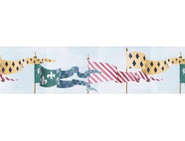 6 3/4 in x 15 ft Prepasted Wallpaper Borders - Flags Wall Paper Border b6800rk