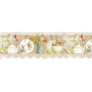 8 1/2 in x 15 ft Prepasted Wallpaper Borders - Kitchen Wall Paper Border b7002