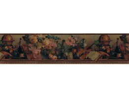 6 3/4 in x 15 ft Prepasted Wallpaper Borders - Floral Wall Paper Border B79083