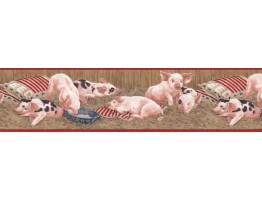 Prepasted Wallpaper Borders - Pigs Wall Paper Border B7102ARF