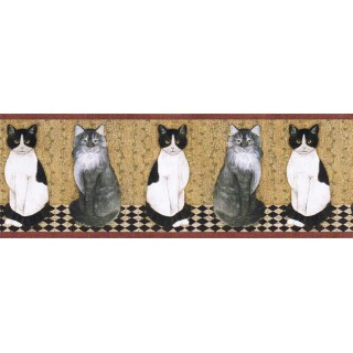 9 in x 15 ft Cats Wallpape Border AFR7103