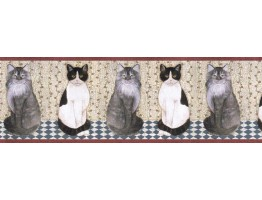 9 in x 15 ft Cats Wallpape Border AFR7105