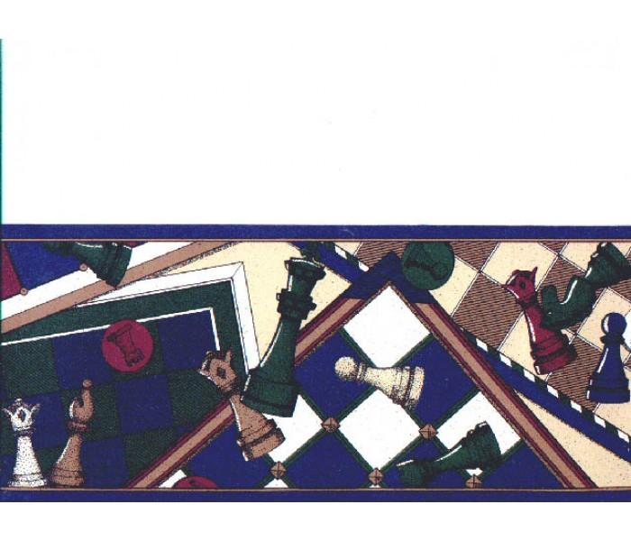 Clearance: Chess Board wallpaper Border b7111fm
