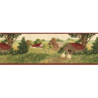 9 in x 15 ft Prepasted Wallpaper Borders - Country Wall Paper Border B7118AFR