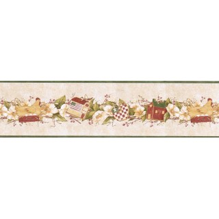 6 7/8 in x 15 ft Prepasted Wallpaper Borders - Birds House Wall Paper Border B7124AFR