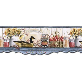 9 in x 15 ft Prepasted Wallpaper Borders - Kitchen Wall Paper Border B7128AFR