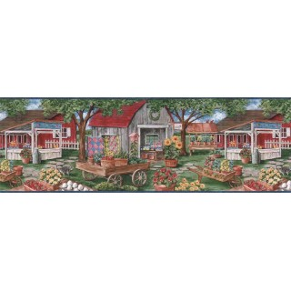 9 in x 15 ft Prepasted Wallpaper Borders - Country Wall Paper Border B7132AFR