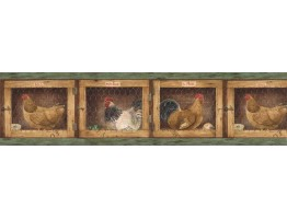 Prepasted Wallpaper Borders - Roosters Wall Paper Border B7136AFR