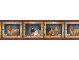Prepasted Wallpaper Borders - Roosters Wall Paper Border AFR7137