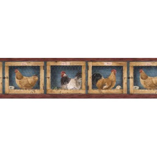 6 7/8 in x 15 ft Prepasted Wallpaper Borders - Roosters Wall Paper Border AFR7137