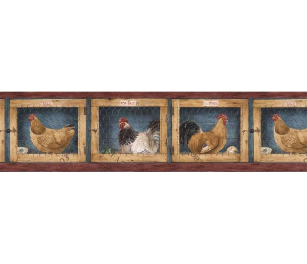 Roosters Wallpaper Borders: Roosters Wallpaper Border AFR7137