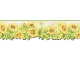 Prepasted Wallpaper Borders - Sunflowers Wall Paper Border FK72636DC